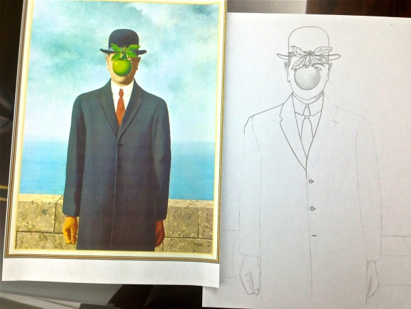 Once the outline of the painting was completed, you begin tracing over all your work